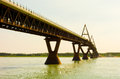 A well engineered bridge over the mackenzie river pillars designed to withstand ice damage in northwest territories Stock Images