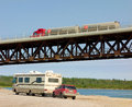A well engineered bridge over the mackenzie river tanker carrying cargo across in northwest territories Stock Images