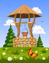 Well of fresh natural water illustration Stock Photography