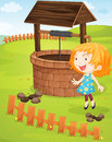 At the well illustration of a girl a Royalty Free Stock Images