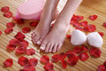 Well maintained feet with flower deco Royalty Free Stock Image