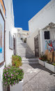 Well maintained streets of santorini greek islands Stock Photos
