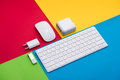 Well organised white office objects on colorful background Royalty Free Stock Photo