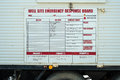 Well site emergency response board oil and gas industry sign for Stock Photo