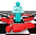 Well Treated Chess Person Standing Over People No Treatment Help