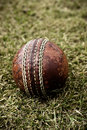 Well-used Cricket ball Stock Photo