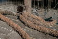 Well used industrial hawser rope used to tie down large lobster Royalty Free Stock Photo