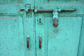 Well Used Teal Door Royalty Free Stock Photo
