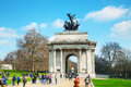 Wellington arch monument in london uk april with people on april it s a triumphal located to the south of hyde park Stock Photo