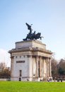 Wellington arch monument in london uk april with people on april it s a triumphal located to the south of hyde park Stock Photography