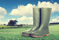 Wellington boots in country landscape vintage tone effect added Royalty Free Stock Image