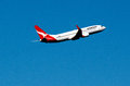 Wellington feb qantas airbus plane flay wellington international airport feb qantas australias largest airline oldest continuously Royalty Free Stock Images