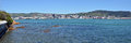 Wellington Harbour & City Landscape Early Morning Panorama Royalty Free Stock Photo
