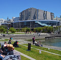 Wellington People Enjoying Spring Sunshine outside the Town Hall Royalty Free Stock Photo