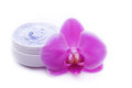Wellness balm with pink orchid blue Royalty Free Stock Image