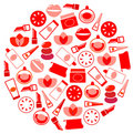 Wellness and cosmetics icons circle - white, red. Stock Photos