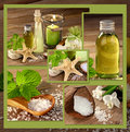 Wellness with natural products collage bathing Stock Image