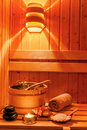 Wellness and spa in the sauna cosy atmosphere at a area of a hotel rest relax from everyday life Stock Images