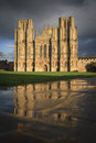 Wells Cathedral with reflections Royalty Free Stock Photo