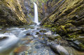 Wells creek seasons falls pounds it s way through the canyon in snoqualmie national forest washington state usa Royalty Free Stock Photos