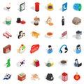 Welness icons set, isometric style Royalty Free Stock Photo