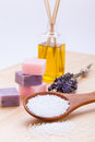 Welnness spa objects soap and bath salt closeup aromatherapy beauty Stock Photography