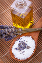 Welnness spa objects soap and bath salt closeup aromatherapy beauty Royalty Free Stock Photography