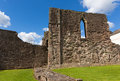 Welsh castle ruins Monmouth Wales uk historic tourist attraction Wye Valley Royalty Free Stock Photo