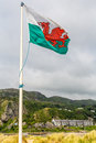Welsh flag in Barmouth wales Royalty Free Stock Photo