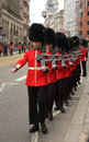 Welsh guards march down fleet street to take their places lining the route of the funeral of lady thatcher Stock Images