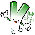 Welsh onion mascot the direction of pointing with both hands ve vegetable character design series Royalty Free Stock Photography