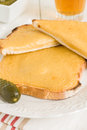 Welsh rarebit or rabbit a traditional recipe of cheese beer and mustard on toast Stock Photography