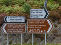 Welsh street sign bilingual in and english in the elan valley in wales locally known as cwm elan Royalty Free Stock Photos