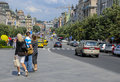 Wenceslas square in prague looking down the street and walking precinct Royalty Free Stock Image