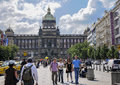 Wenceslas square in prague and showing the national museum with tourists enjoying the streets and the vicinity on Stock Photo