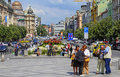 Wenceslas square in prague showing the street and walking areas Royalty Free Stock Photos