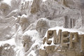 They were mere mortals a fragment of a bas relief of wall ruins inscription on mamayev kurgan in volgograd Royalty Free Stock Photos