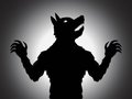 Werewolf silhouette a vector with shading effect Stock Photography
