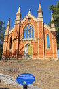 The Wesleyan Methodist church (1864) was badly damaged by fire in 2000 and only the basic brick structure and front facade remain Royalty Free Stock Photo