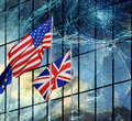 West civilization crisis concept of or depression international flags in cracked background Royalty Free Stock Photos