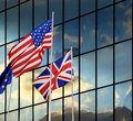 West civilization democracy state flags of usa uk and eu in corporate background concept of Royalty Free Stock Photography