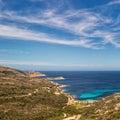 West coast of Corsica towards Revellata lighthouse near Calvi Royalty Free Stock Photo