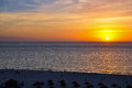 West coast of florida sunset seen from the beach on the Royalty Free Stock Image