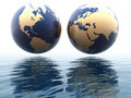 West and east hemispheres of earth Stock Images