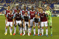 West ham united team before a friendly match against rcd espanyol at the estadi cornella on september in barcelona spain Royalty Free Stock Photography