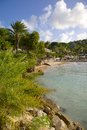 West indies caribbean antigua st georges blue water beach view Stock Photo