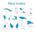 West Indies - maps of countries - vector Royalty Free Stock Photo