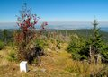 West look from ostry osser on the czech germany border in sumava mountains Royalty Free Stock Photo