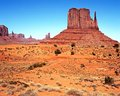 West mitten butte monument valley view across the desert landscape towards utah arizona united states of america Stock Photography