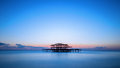 The west pier of Brighton after sunset, England, UK Royalty Free Stock Photo